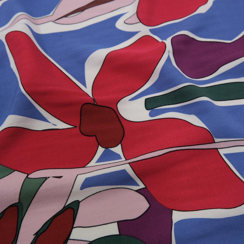 Crep subtire de vara imprimat cu motive florale abstracte