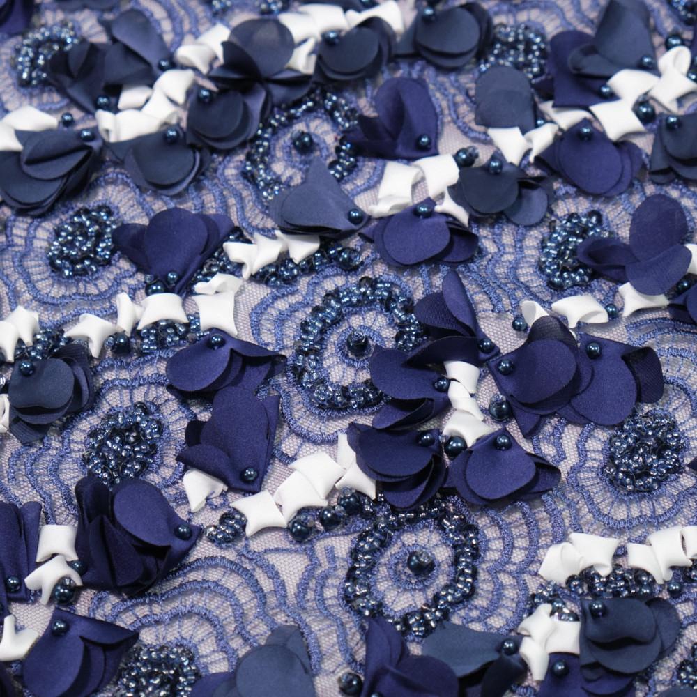 Dantela cu floricele 3D Albastru cu alb