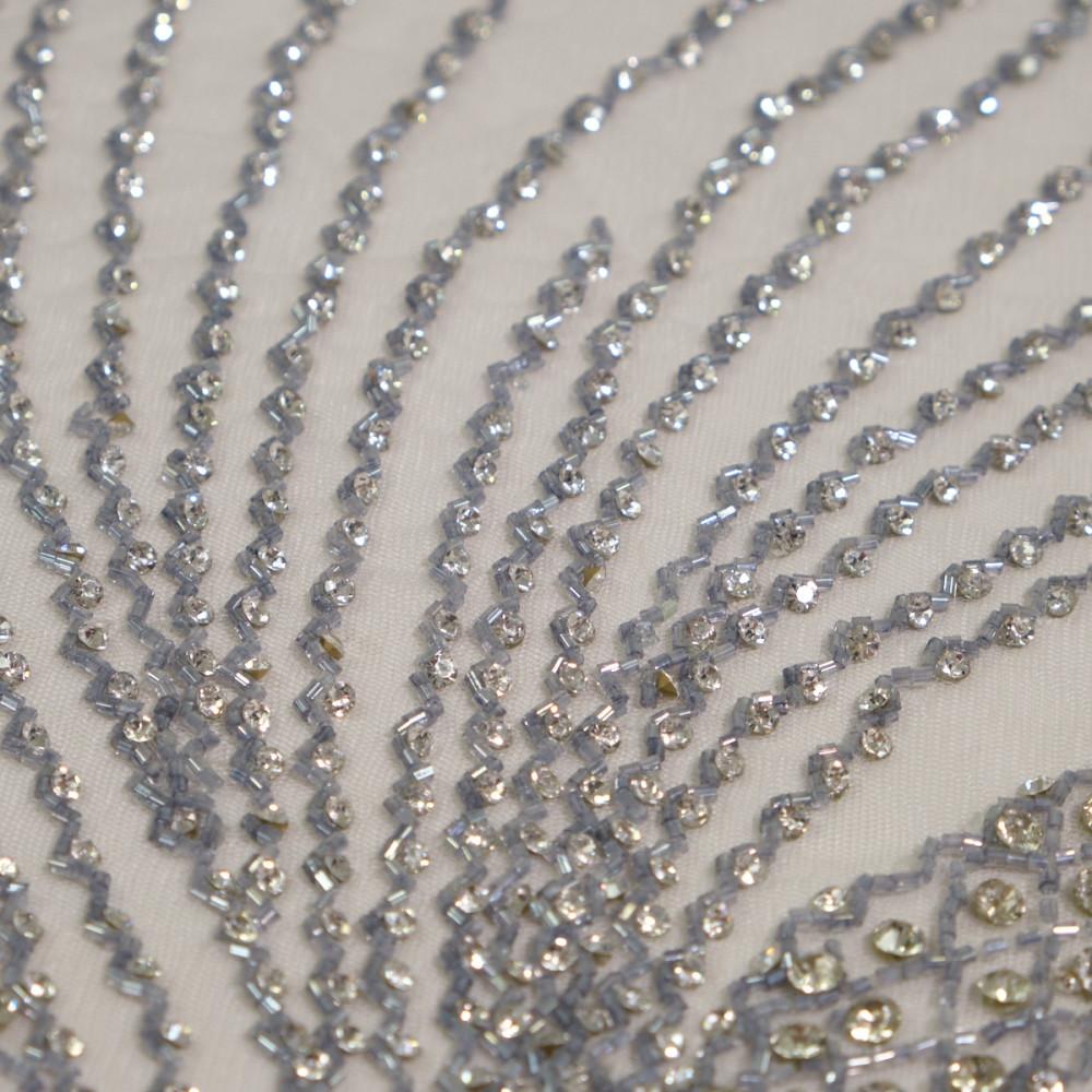 Dantela accesorizata cu cristale Silver Grey
