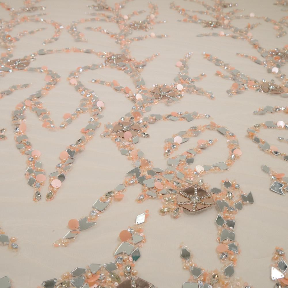 Dantela accesorizata cu oglinzi Nude Rose