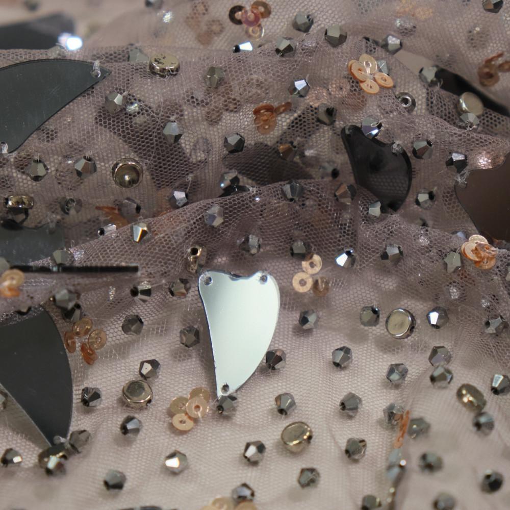 Dantela accesorizata cu oglinzi Titanium grey