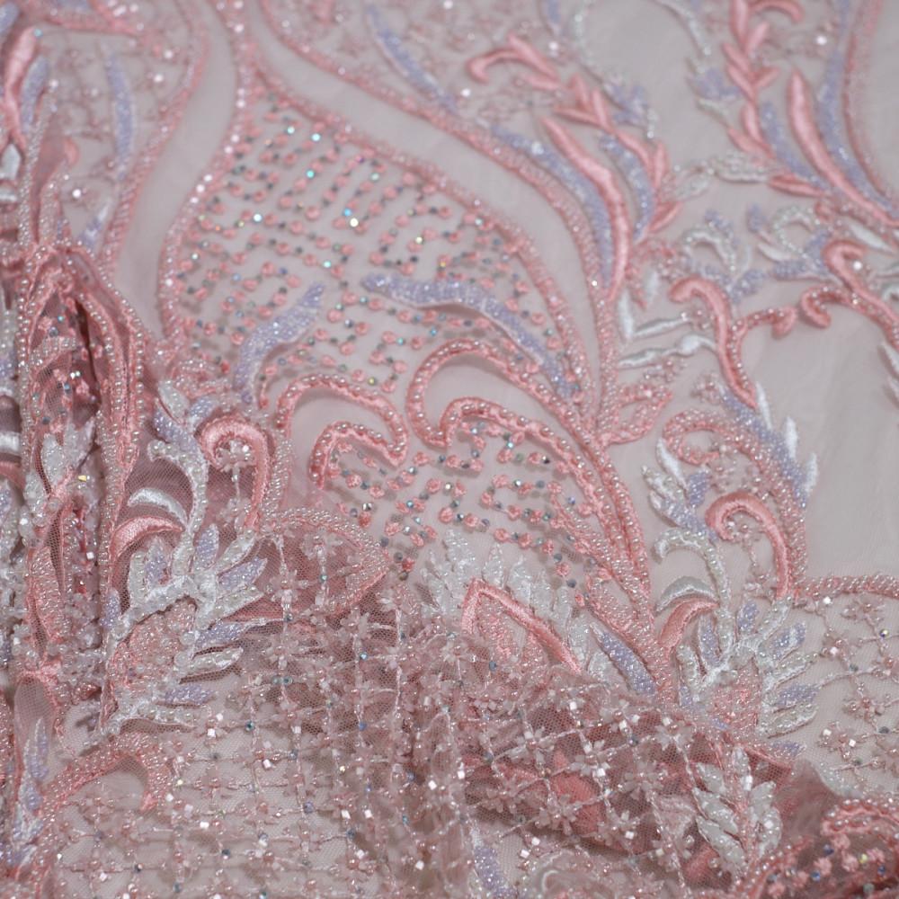 Dantela cu model oriental tip panouri Roz
