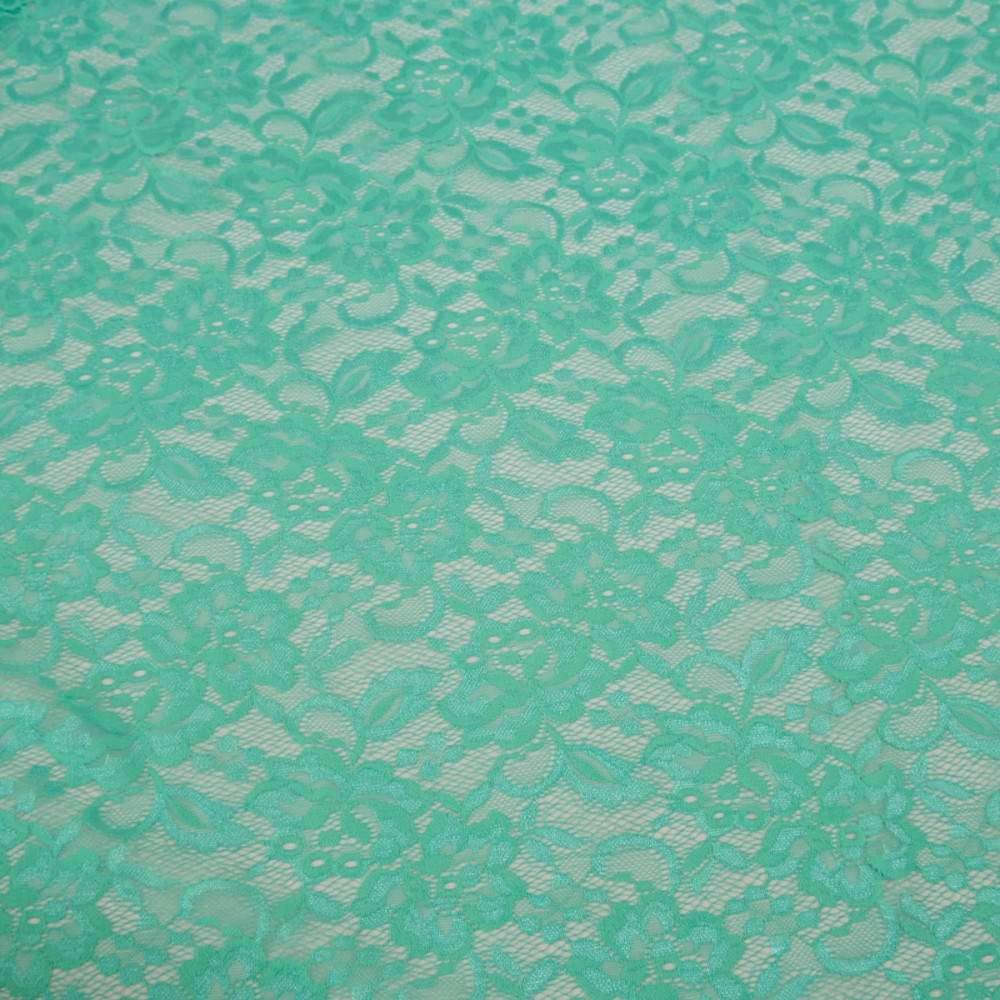 Imitatie dantela chantilly elastica Verde Aqua