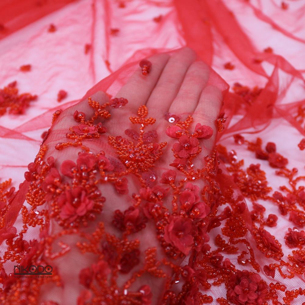 Dantela cu bordura si floricele 3D Rosu