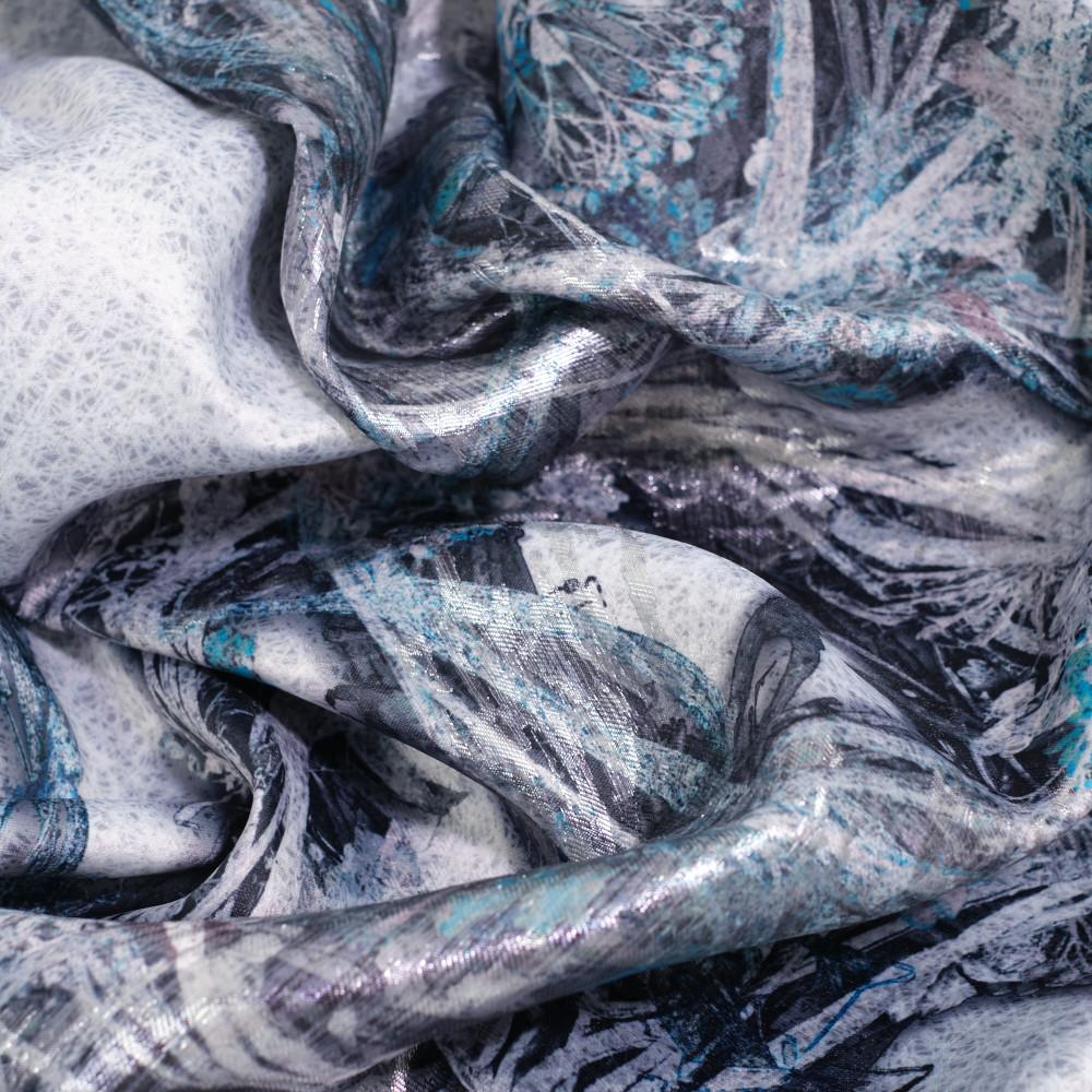 Jacquard imprimat multicolor cu fir metalic argintiu