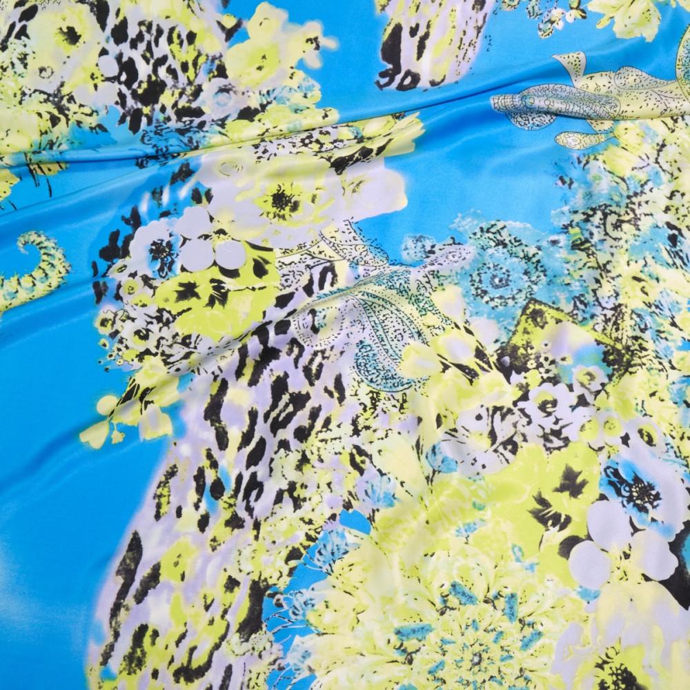 Matase naturala imprimata cu motive abstracte
