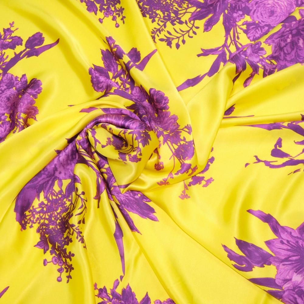 Matase naturala imprimata cu motive florale