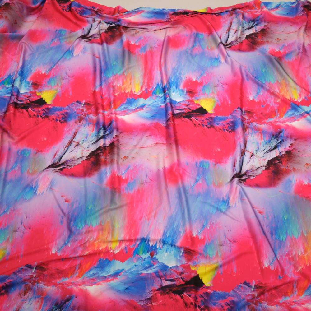 Matase sintetica elastica imprimata cu motive abstracte multicolorate