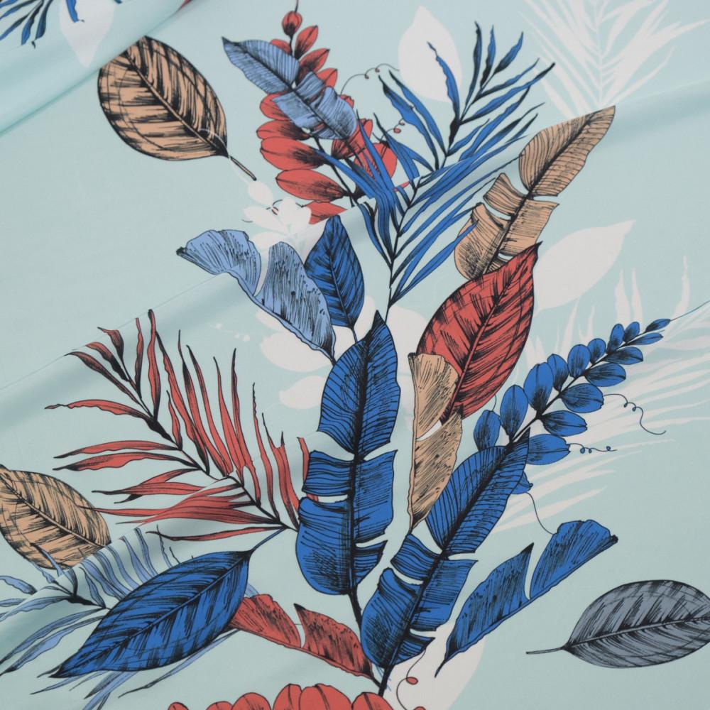 Matase sintetica imprimata digital multicolor cu motive florale