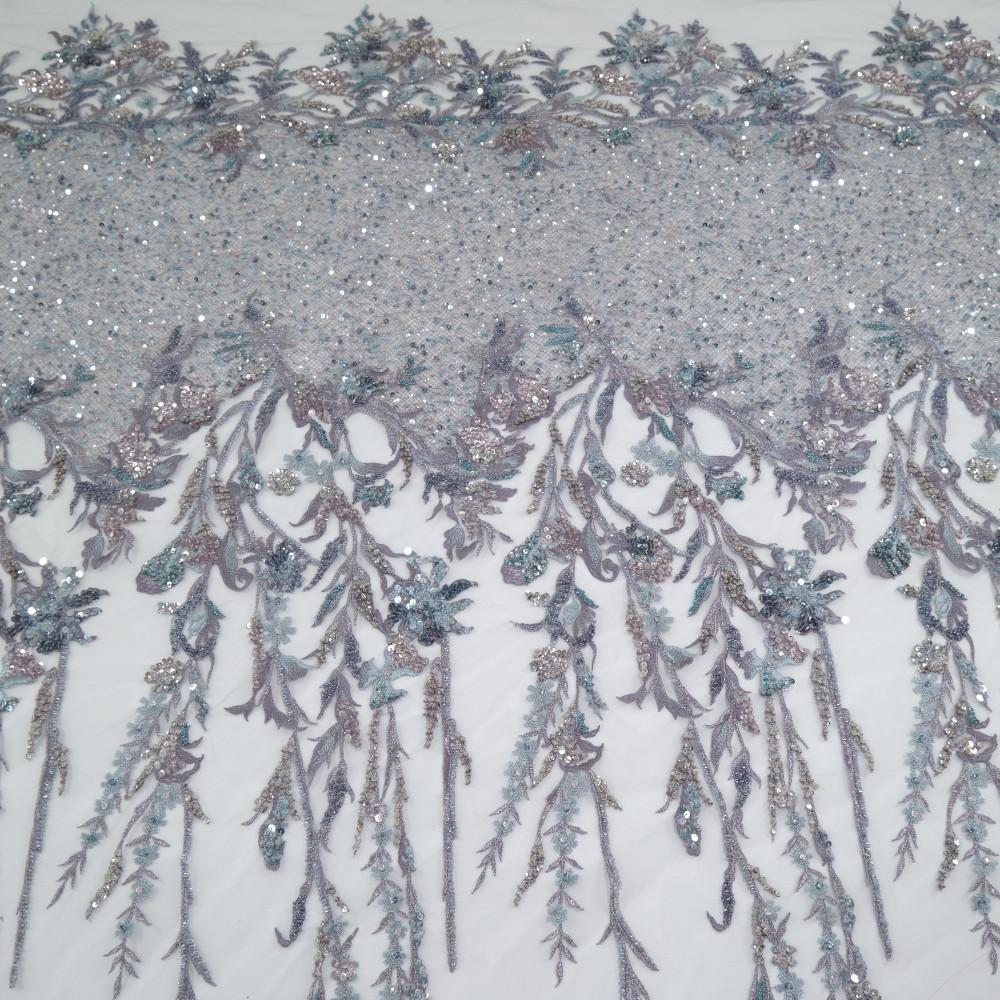 Dantela accesorizata Gri Argint