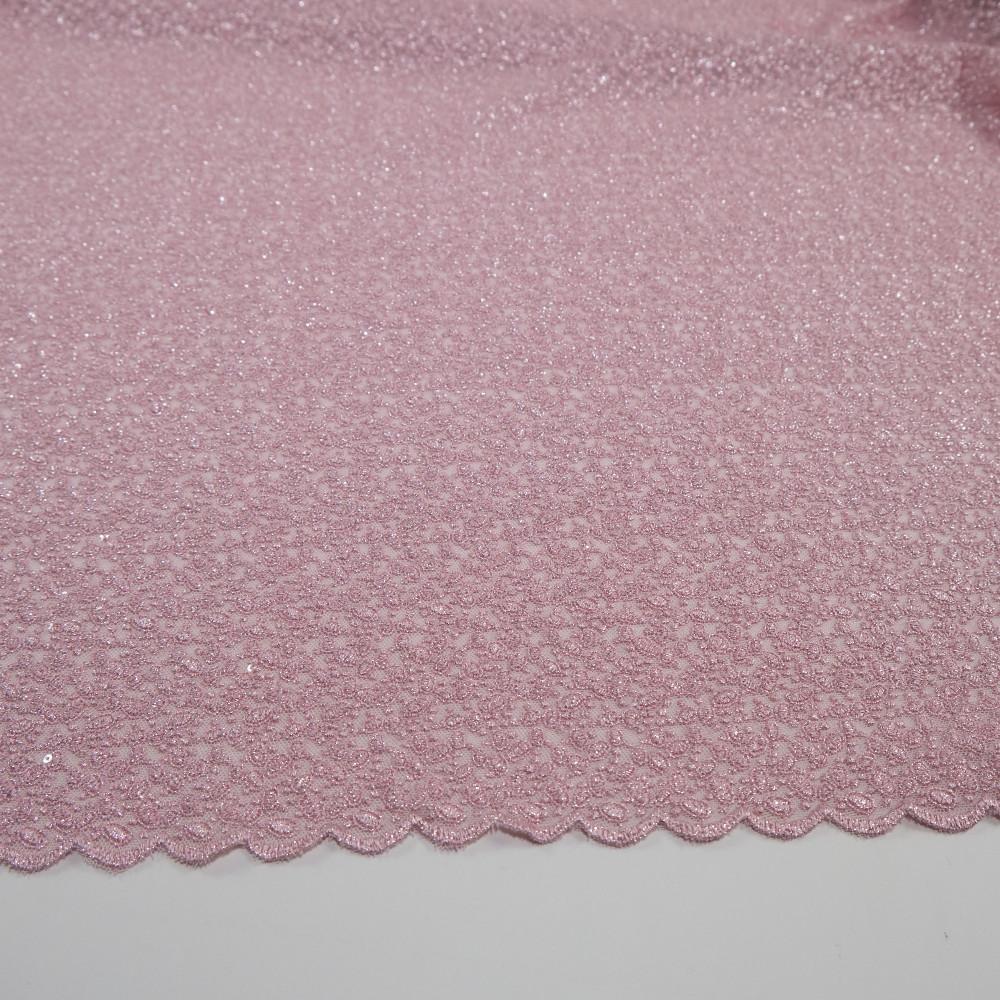 Dantela simpla elastica cu fir metalic, Roz