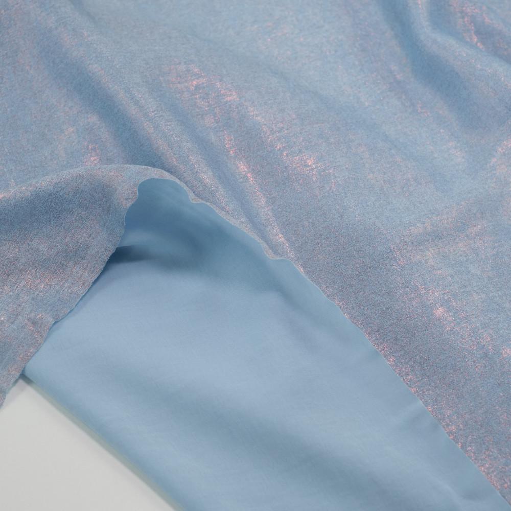 Matase sintetica cu pelicula metalica Bleu