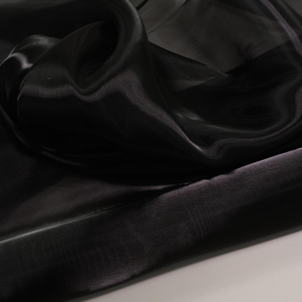 Organza tare cu aspect sidefat Negru