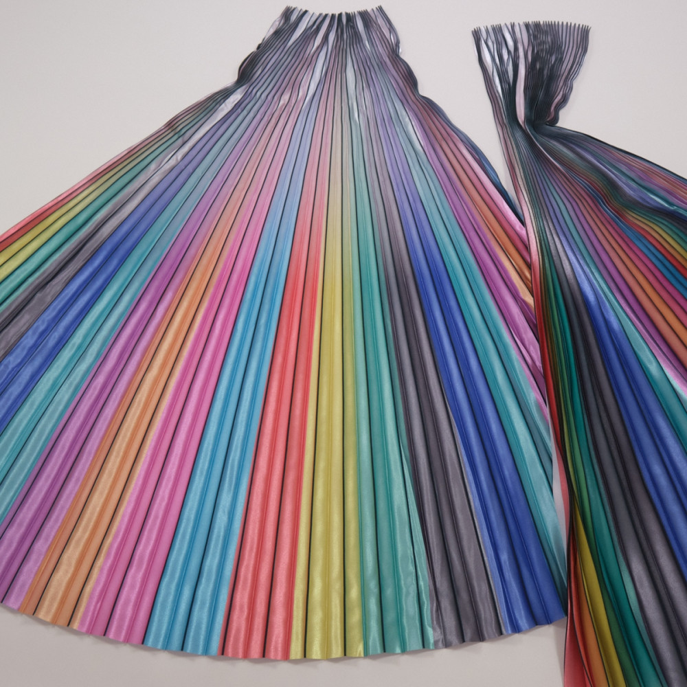 Material plisat pentru fuste lungi Multicolorat