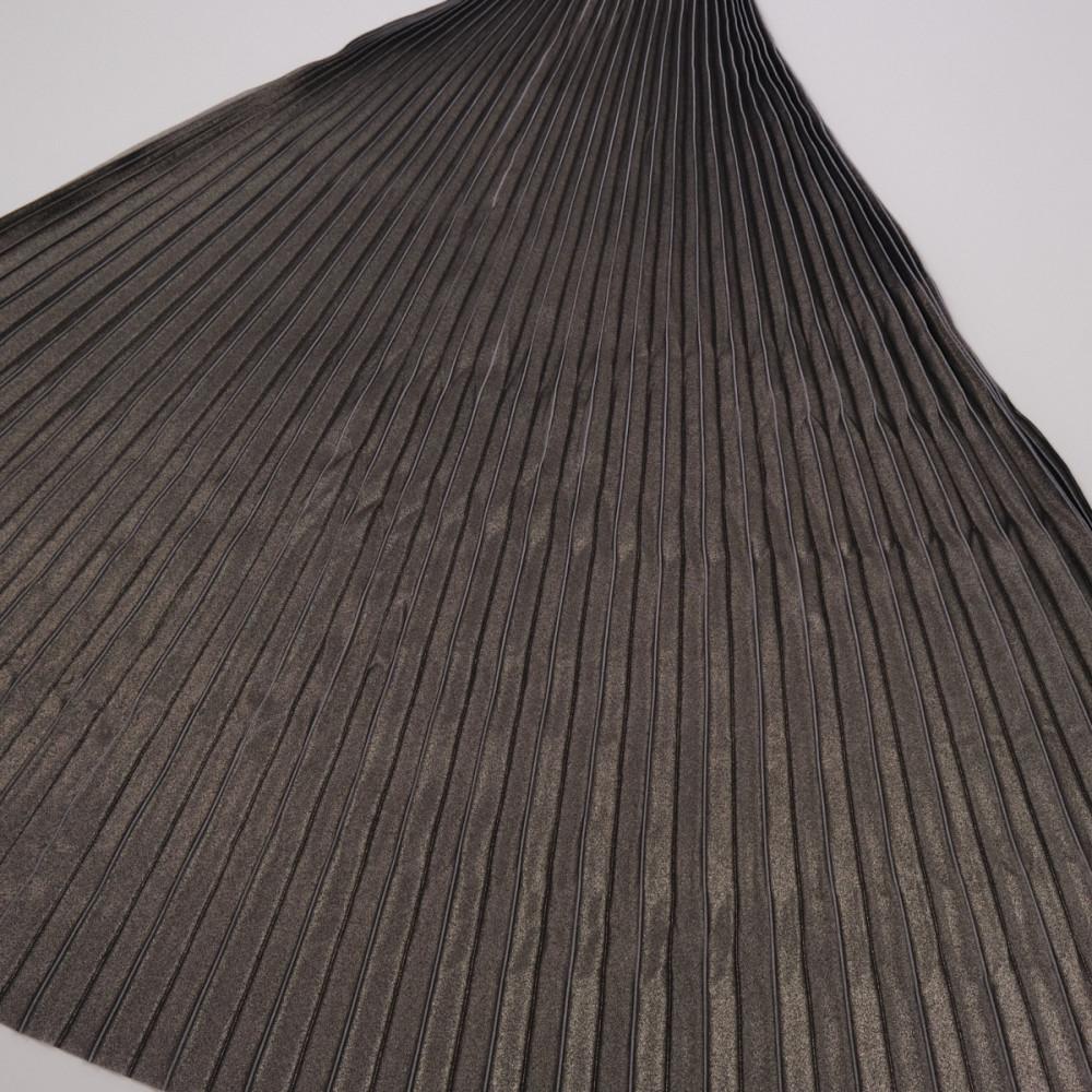 Material plisat pentru fuste lungi cu pelicula metalica