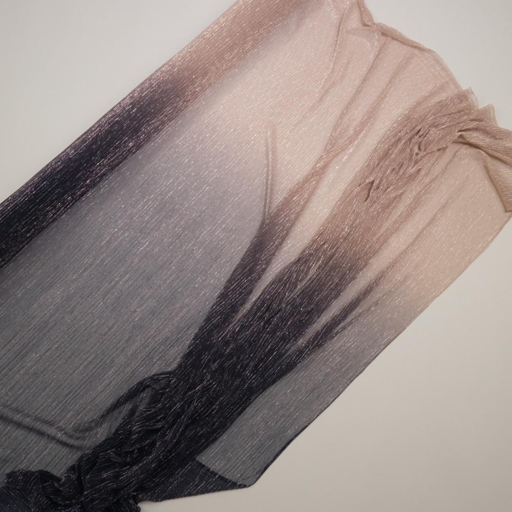 Tul plisat cu fir metalic in degrade Bleumarin Nude