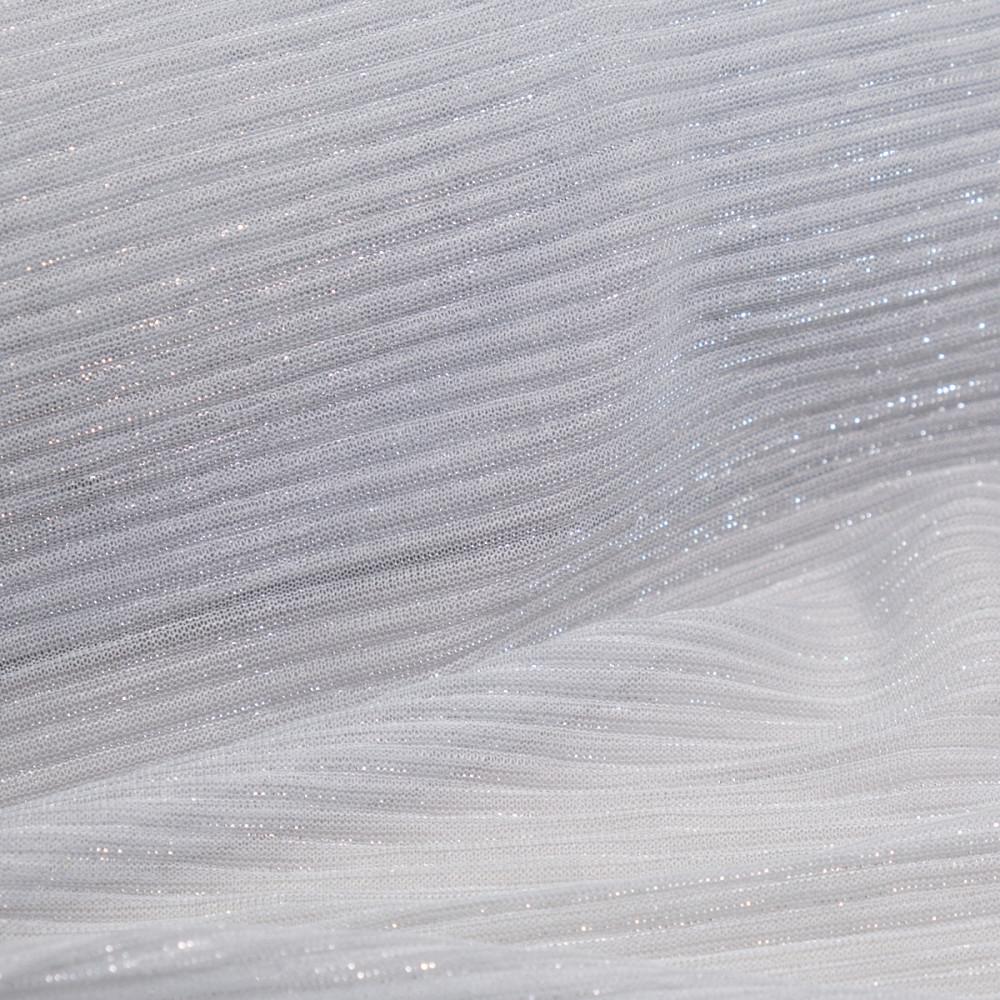 Tul plisat cu fir metalic Argintiu