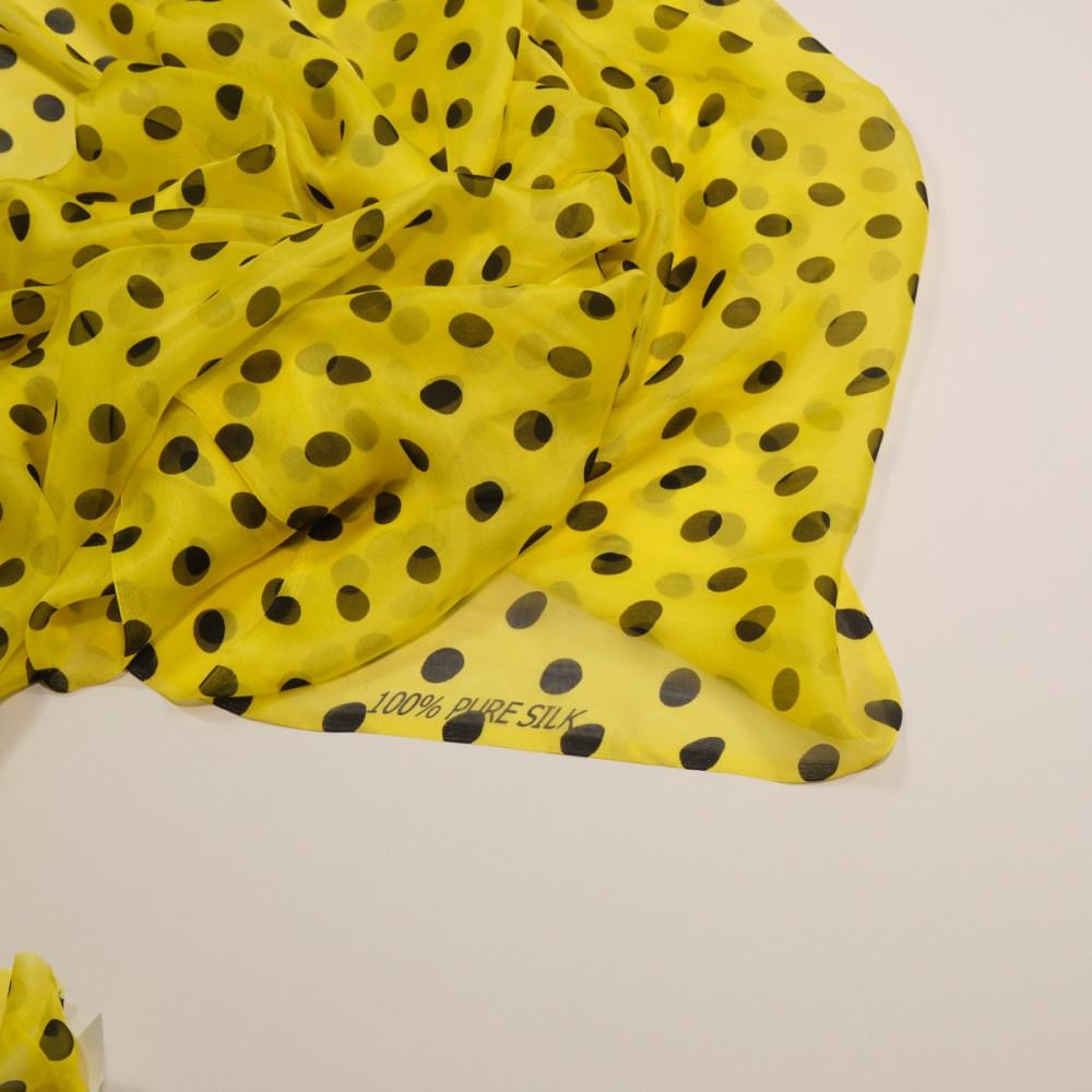 Voal de matase naturala galben cu buline negre