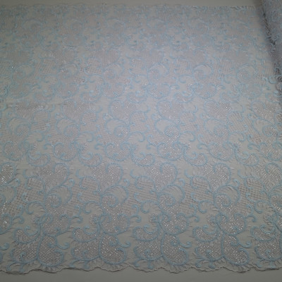 Dantela simpla in doua culori Bleu-Alb