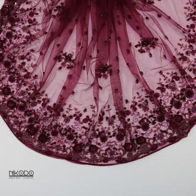 Dantela cu bordura si floricele 3D Magenta