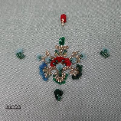 Dantela cu bordura si floricele 3D Verde