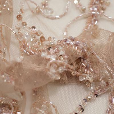 Dantela accesorizata cu franjuri Nude Rose