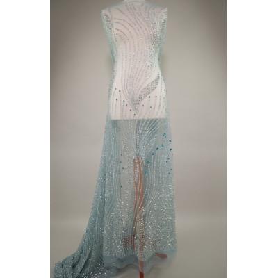Dantela accesorizata cu cristale Carribean Turquoise