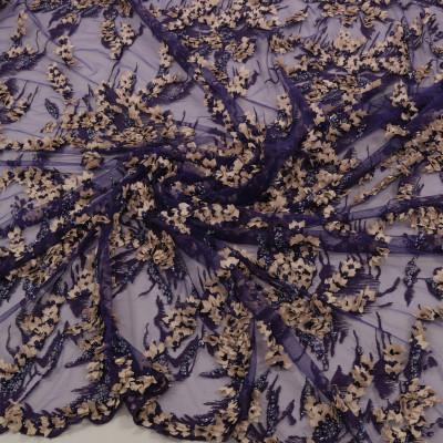 Dantela cu floricele 3D Mov capuccino