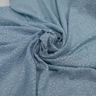 Dantela simpla elastica cu fir metalic, Bleu
