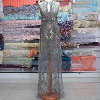 Aplicatie rochie lunga Gri Titan