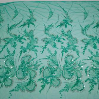 Dantela accesorizata manual cu oglinzi Emerald Green