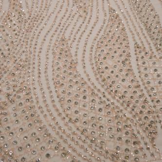 Dantela accesorizata cu cristale Gold Rose