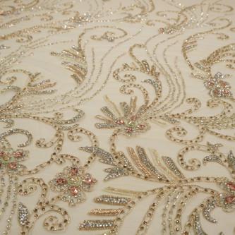 Dantela accesorizata manual cu pietre Gold Rose