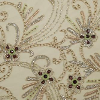 Dantela accesorizata manual cu pietre Flower Green