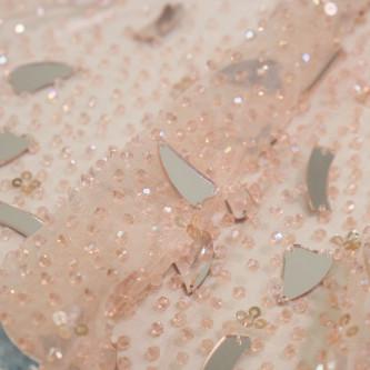 Dantela accesorizata cu oglinzi Salmon Pink