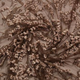 Dantela cu floricele 3D Maro capuccino
