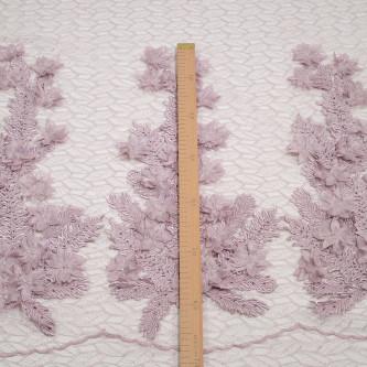 Dantela cu aplicatii din flori 3D Lila