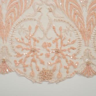 Dantela cu model abstract accesorizata Coral