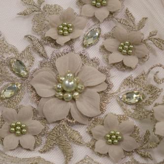 Dantela cu motive florale 3D Olive