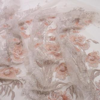 Dantela accesorizata cu margele si cristale Roz Somon