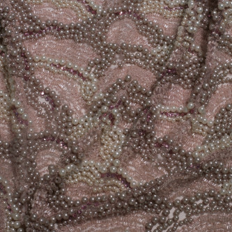 Dantela accesorizata cu margele pentru bust Rose nude