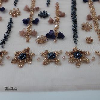Dantela accesorizata Bleumarin Auriu