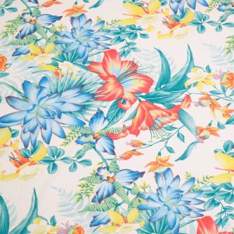Matase sintetica elastica imprimata cu motive florale multicolorate