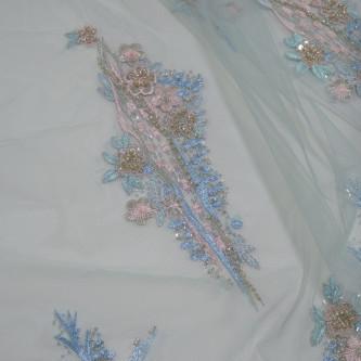 Dantela accesorizata multicolor in nuante de bleu, aqua, roz