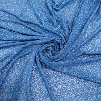 Dantela simpla elastica cu fir metalic, Albastru