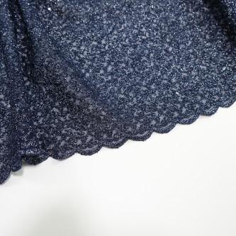 Dantela simpla elastica cu fir metalic, Bleumarin