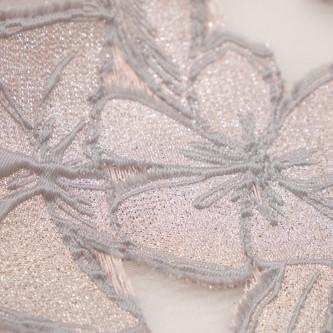 Jacquard cu flori si organza Roz Argintiu