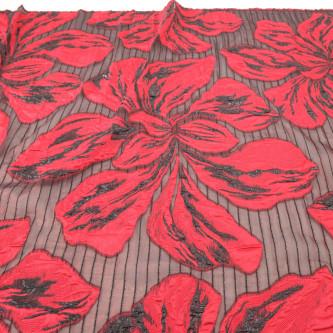 Jacquard cu flori si organza Rosu Negru