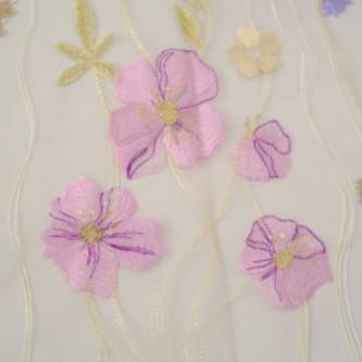 Dantela simpla pastel pe tul nude rose