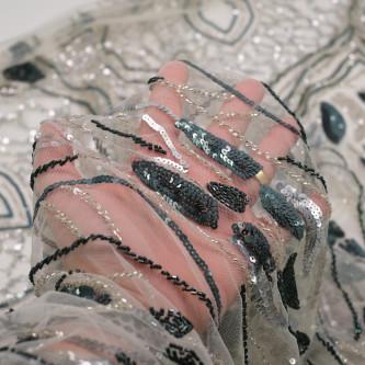 Dantela accesorizata Argintiu Gri